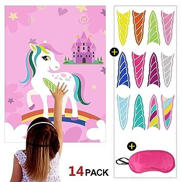 Howaf Juego para Fiestas Unicornio, Pin The Horn en Unicornio, los Colores del Arco Iris y Castillo, para Fiestas Infantiles, Idea de Regalo, piñata, ...