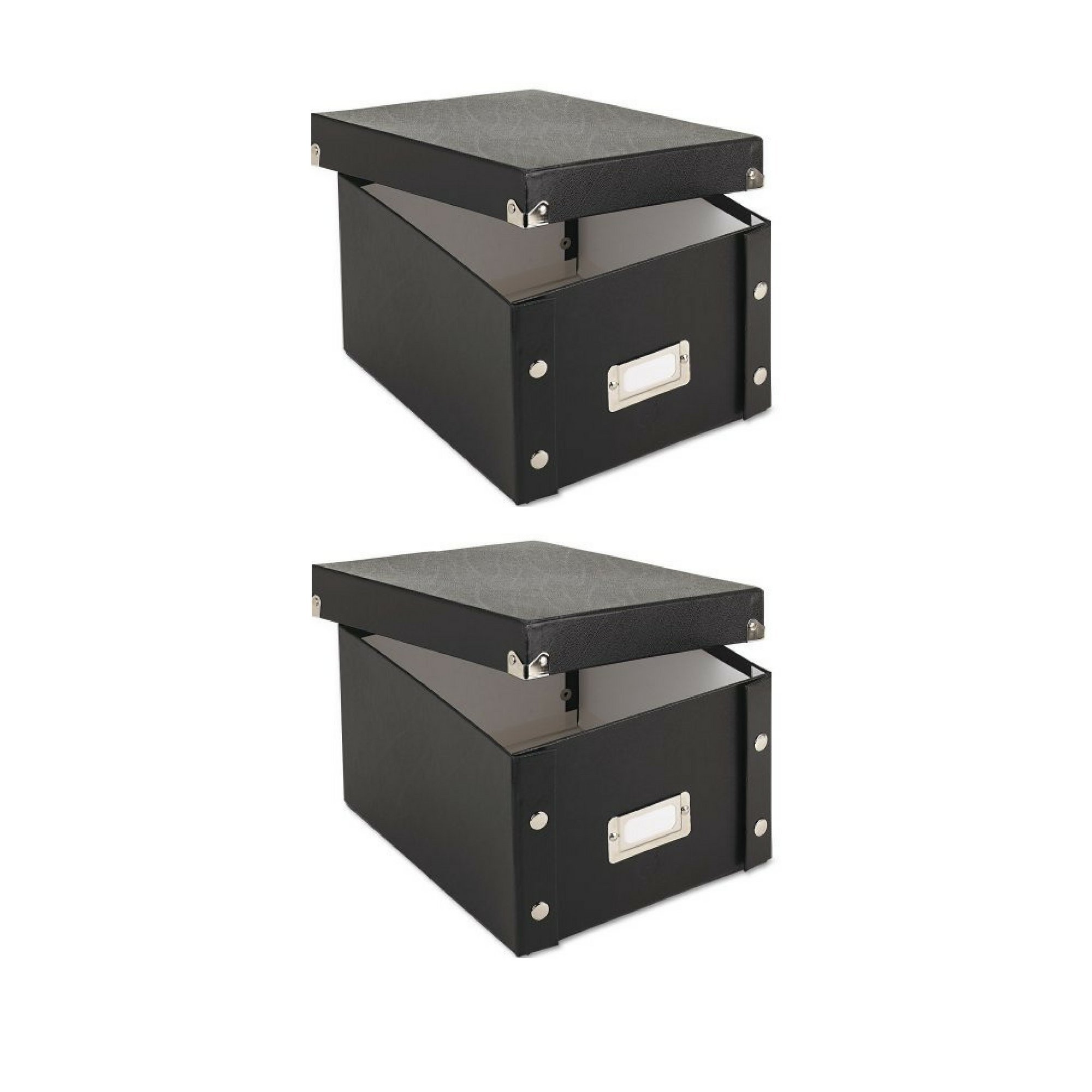 Snap-N-Store Collapsible Index Card File Box, Holds 1,100 5 x 8 Cards, Black - 2