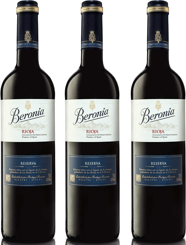Beronia Reserva - Vino D.O.Ca. Rioja - 3 botellas x 750 ml - Total: 2250 ml: Amazon.es: Alimentación y bebidas