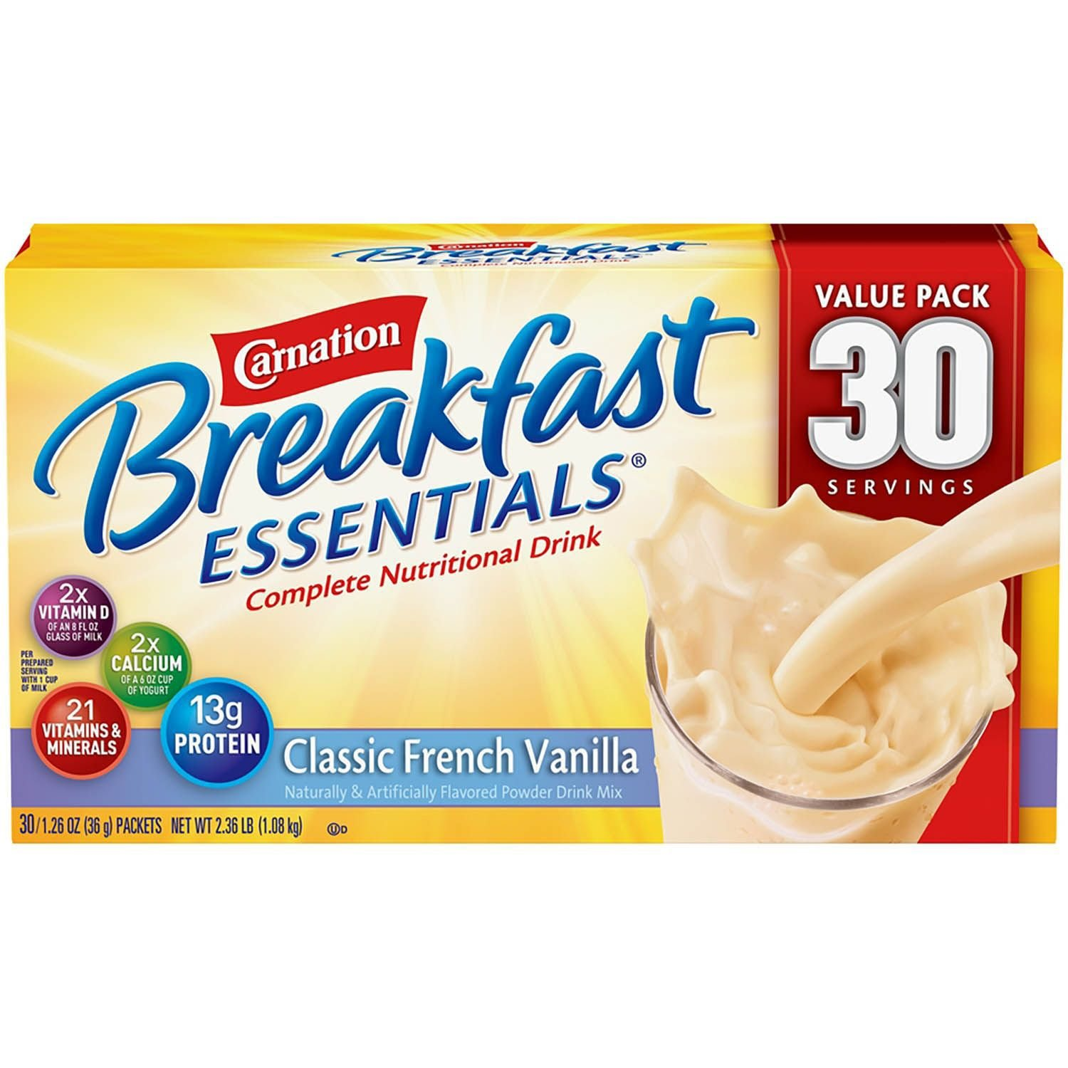 Nestle Carnation Breakfast Essentials - Classic French Vanilla - Drink Mix - 30 Servings Value Pack! (Pack of 2) COI@HC