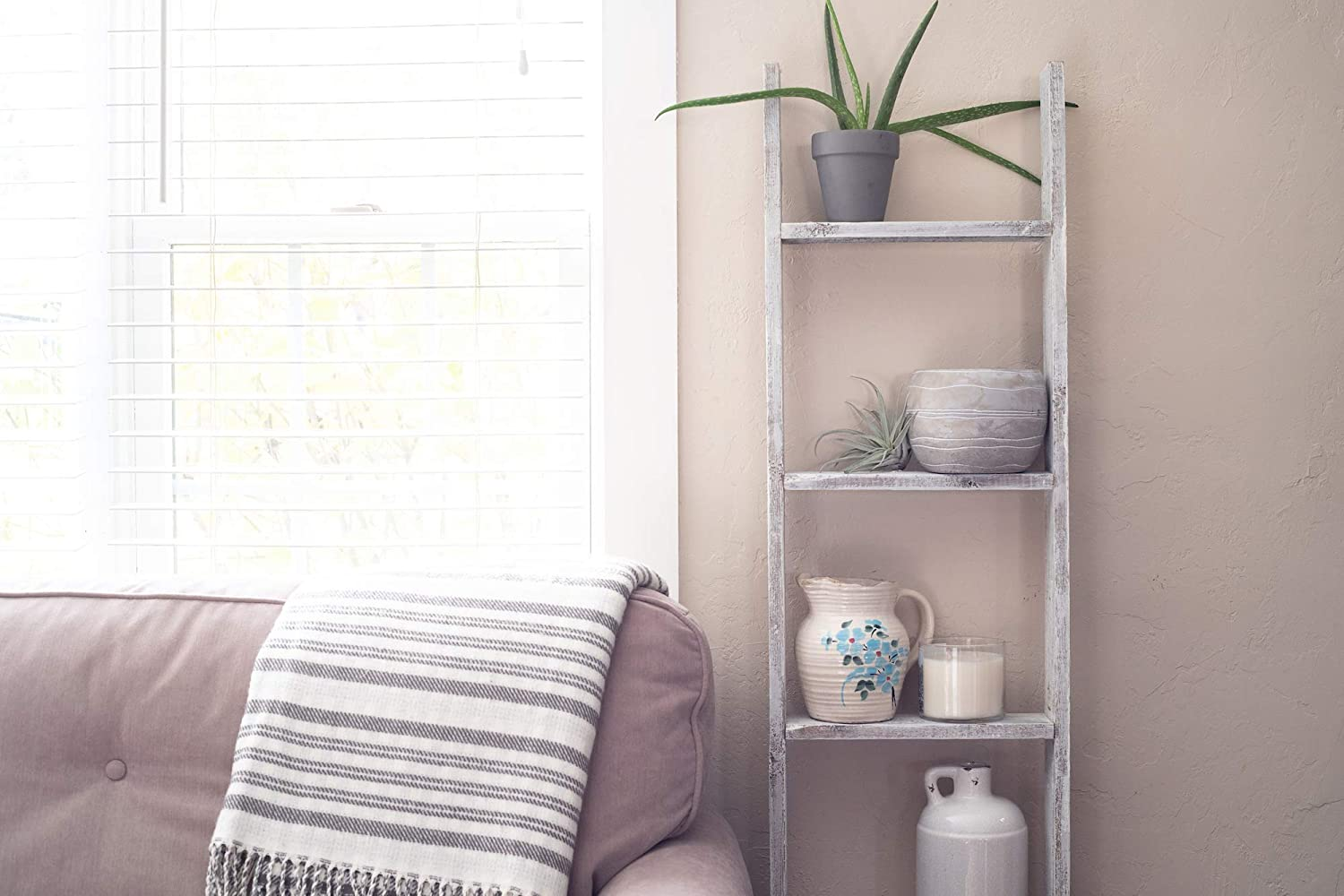 White No Assembly Required BarnwoodUSA Rustic Farmhouse Blanket Ladder Our 5 ft Ladder can be Mounted Horizontally or Vertically and is Crafted from 100/% Recycled and Reclaimed Wood