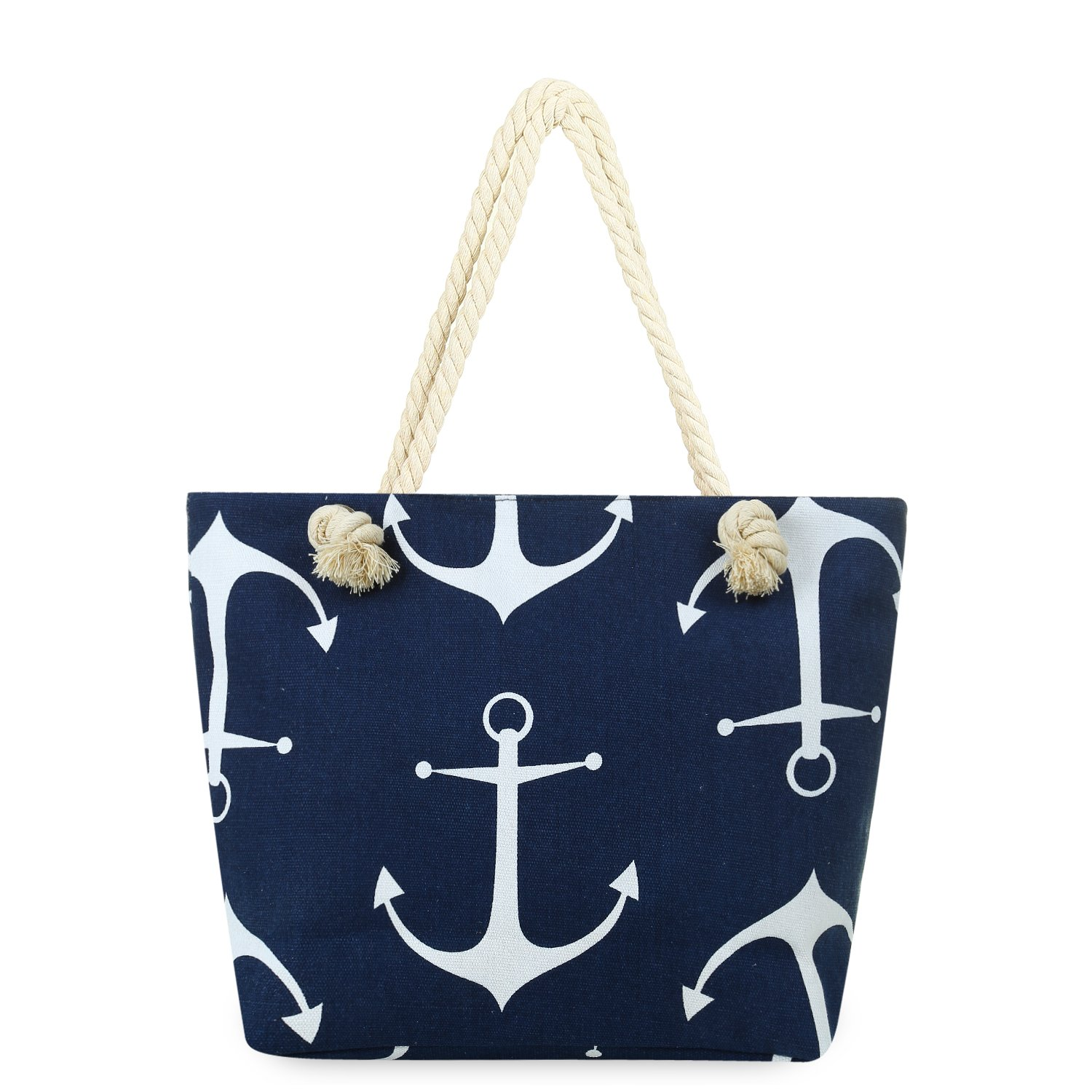 MISS FANTASY Beach Bag Anchor Print Beach Tote Large Canvas Summer Tote with Zipper Good for Beach and Travel (Navy Blue)