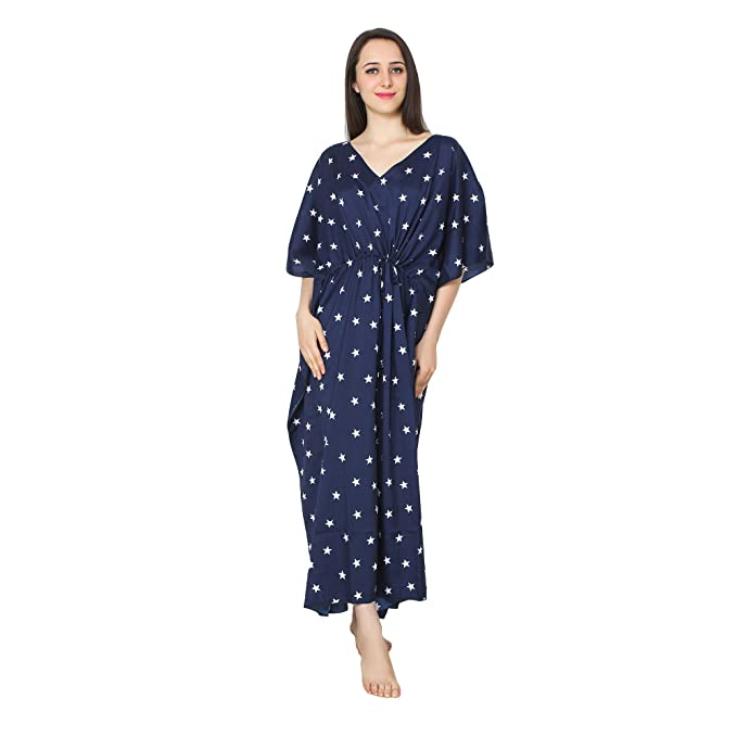 eee6712b76 Patrorna Crape Women s Kaftan Nighty in Blue Print (Size Free ...