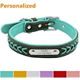 LaReine Personalized Leather Dog Collar, Braided Soft Leather Name Plated Dog Collars for Small Medium Large, Custom Engraved On Collar Pet ID Tags for Cat and Dog, 5 Adjustable Size XS, S, M, L, XL