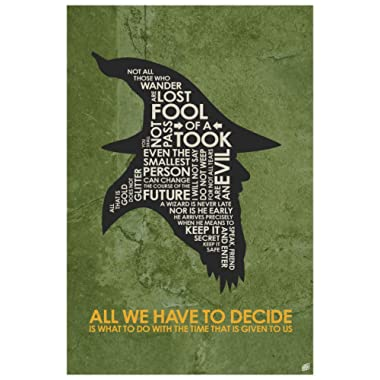 Gandalf,All WE Have to Decide Word Art Print Poster (12  x 18 ) by Artist Stephen Poon.