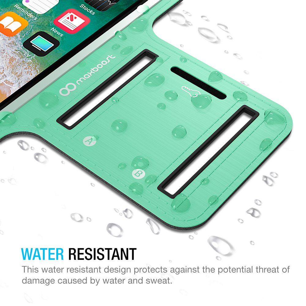 Maxboost Armband [Original+] For Large Phone iPhone 8 Plus, 7 6 6S Plus, X, Galaxy S9 S8 Plus, Note 8 5 2 (Fits Otterbox Defender Lifeproof case) [Water Resistant] Universal Running Pouch Key Holder by Maxboost (Image #5)