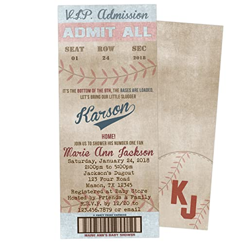Vintage Baseball Baby Shower Invitations Boy Ticket Invite