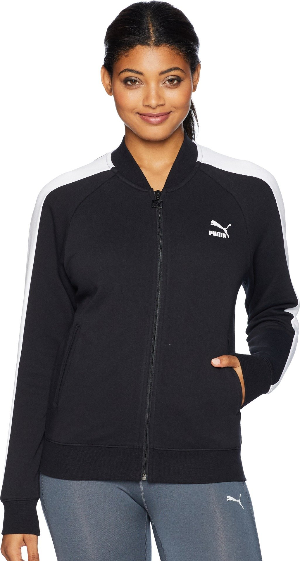 PUMA Women's Classics Logo T7 Track Jacket, F Cotton Black, S