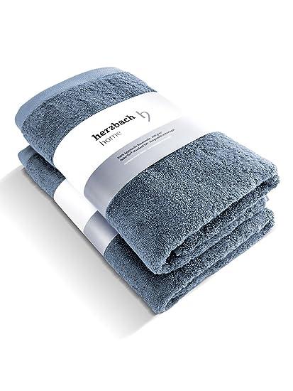Juego de 2 toallas de calidad prémium de Herzbach Home de 100 % algodón egipcio 50