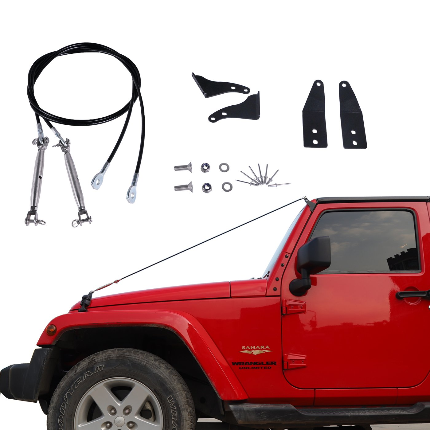 OMOTOR 2PC Limb Riser Kit fit for JK Jeep Wrangler 2007-2018, TJ Jeep Wrangler 1997-2006, Through the jungle Protector Obstacle Eliminate Rope