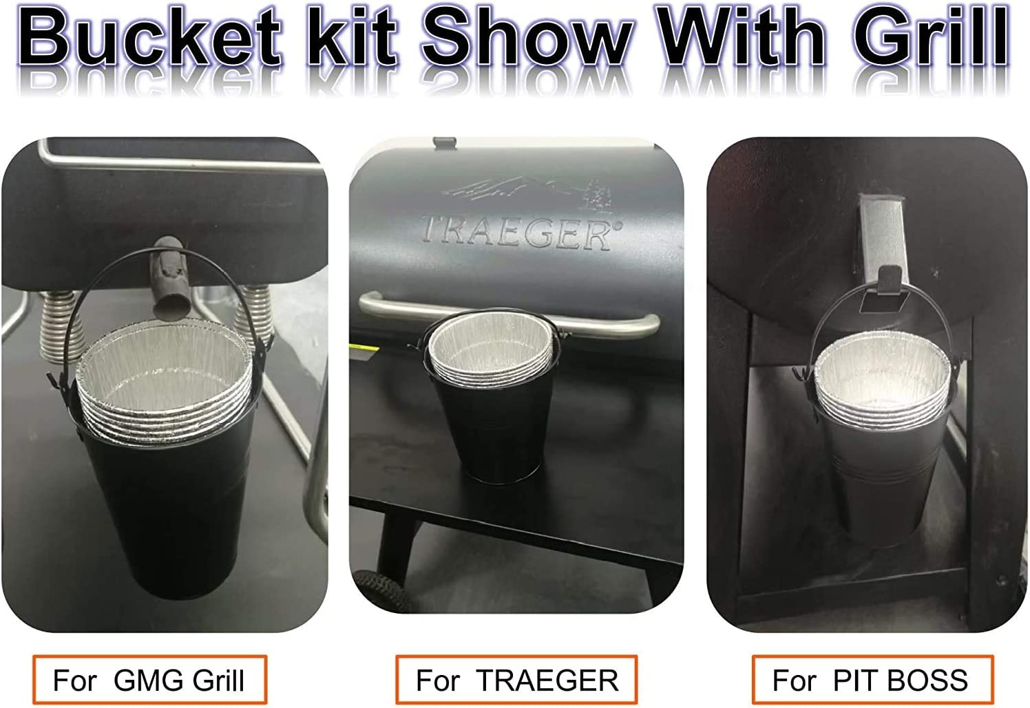 BIG PART Black Grease Drip Bucket with12-Pack Disposable Foil Liner Kit Replacement Parts for Oklahoma Joe's, Also Fits Most Wood Pellet Grill & Offset Smokers : Garden & Outdoor