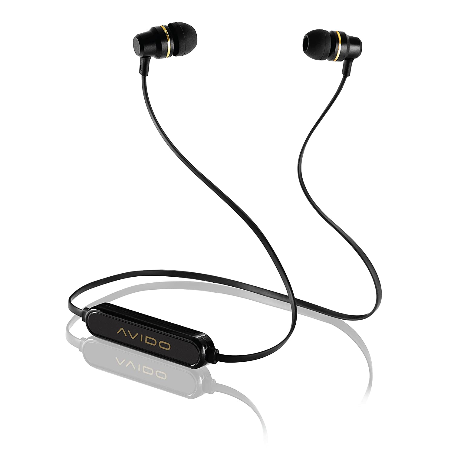 Avido ZYLO Premium Wireless Bluetooth in-Ear Earphones Earbuds – Multi-Function Remote Mic for Hands-Free Calling, HD Performance Sound, Long-Lasting Battery Retail Packaging – Black Gold