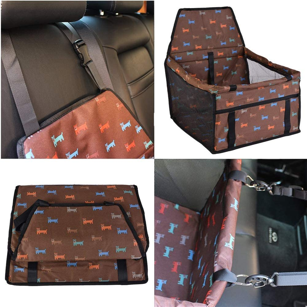 Pet Car Booster Seat for Dog Cat with 2 Support Bars Gray Brown Red Black Waterproof Portable Folding Travel Safety Seat Bag with Safety Leash and Zipper Storage Pocket for Puppy//Small Pet