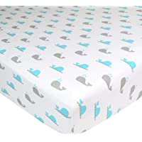 American Baby Printed 100% Cotton Jersey Knit Fitted Crib Sheet for Standard Crib and Toddler Mattresses for Boys and Girls, Whale