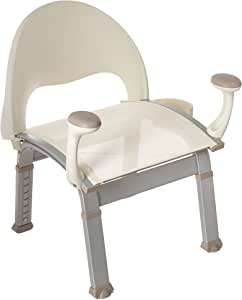 Moen DN7100 Home Care Premium Adjustable Bath Safety Shower Chair with Back and Arm Rests, 1 count, Glacier