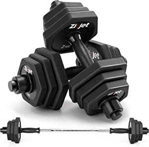 Zicjet Dumbbells Sets 44Lbs/66Lbs, Adjustable Weights Dumbbells Pair Solid Steel for Adults Home Fitness Equipment Gym Workout Strength Training with Connecting Rod Used as Barbells (Black/Red)