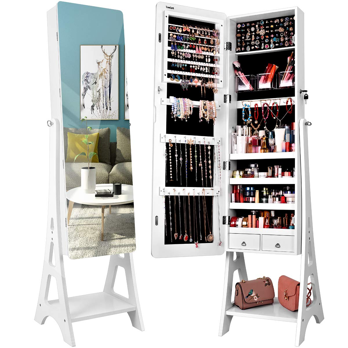 TomCare Jewelry Organizer Jewelry Cabinet Free Standing Jewelry Armoire Lockable Tilt Angle Adjustable Jewelry Box withFull Length Mirror & 2 Drawers Earring OrganizerJewelry Storage Holder, White by TomCare (Image #1)