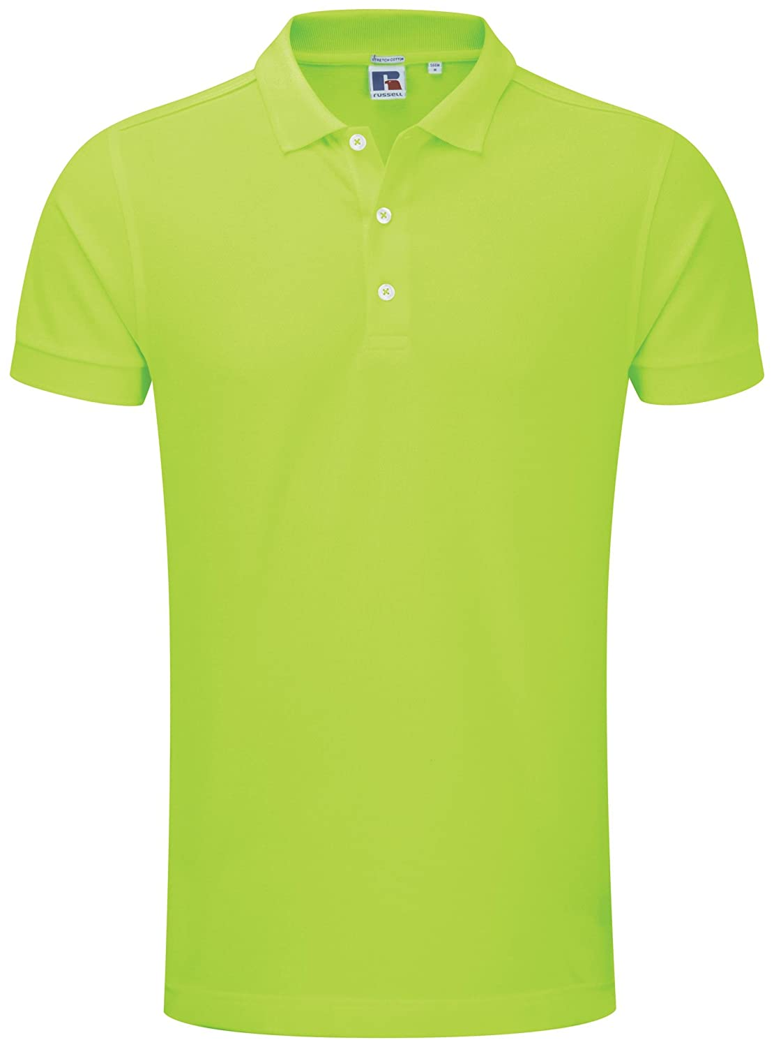 Men's Russell Stretch Polo Slim Fit Button Plack