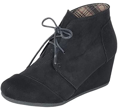 Forever Link Women s Lace Up Hidden Wedge Ankle Bootie (5 B(M) US 9e6758c7a7