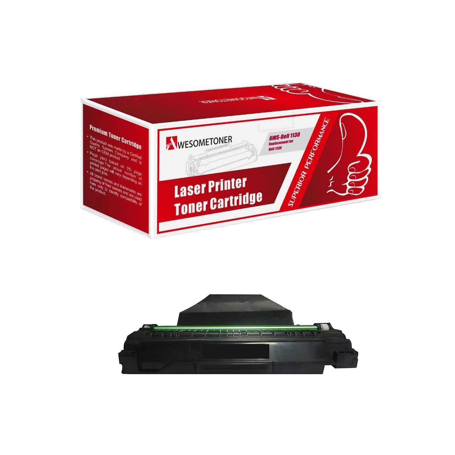 Awesometoner Compatible Toner to replace Dell 330-9523 (7H53W) High Yield  Black Toner Cartridge for your Dell 1130,1135 Printer