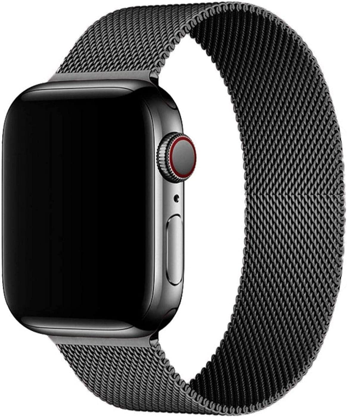 Mediatech Compatible with Apple Watch Bands 44mm 42mm 40mm 38mm Stainless Steel Wristband Mesh Loop Magnetic Closure Adjustable Metal Replacement Strap for iWatch Series 1/2/3/4/5/6/SE 42mm/44mm Black