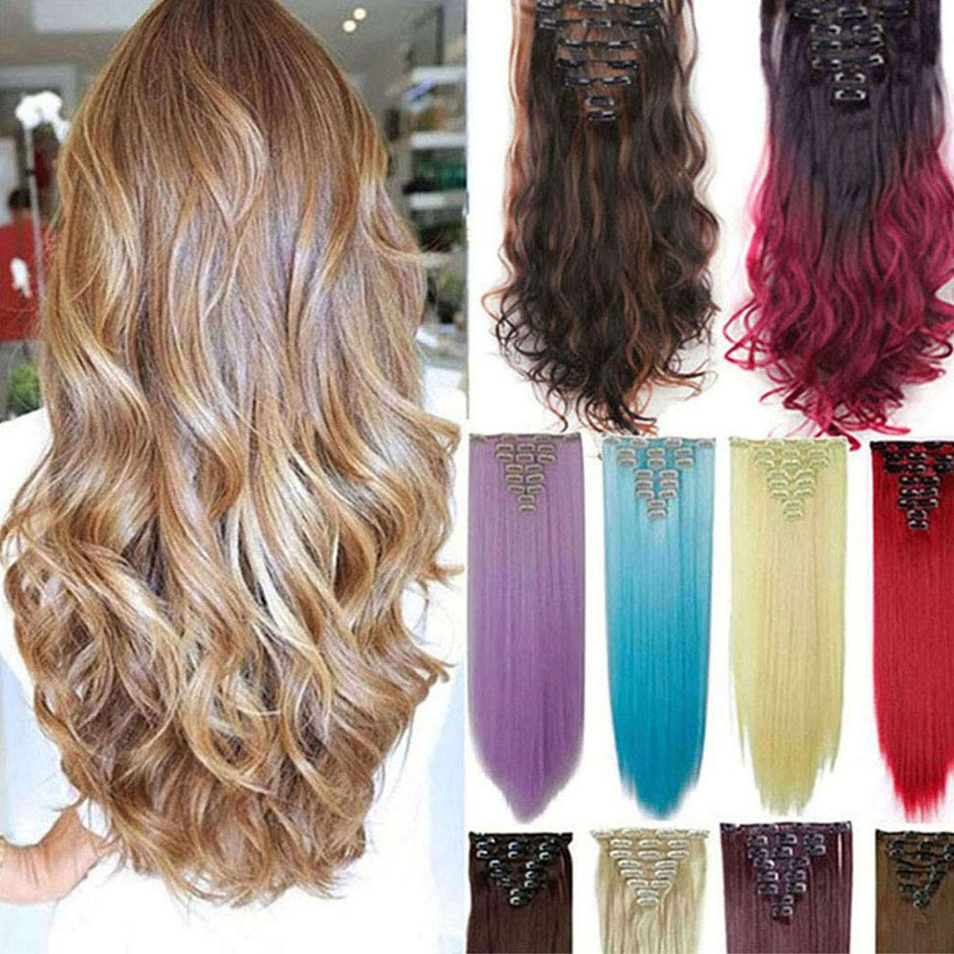 8Pcs 18 Clips 17-26 Inch Curly Straight Full Head Clip in on Hair Extensions Hairpiece 27colors