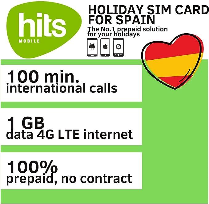 Hits Mobile Holiday Prepaid - Tarjeta SIM para España (100 Minutos de conversación Internacional y 1 GB de Datos para 4G LTE Internet): Amazon.es: Electrónica