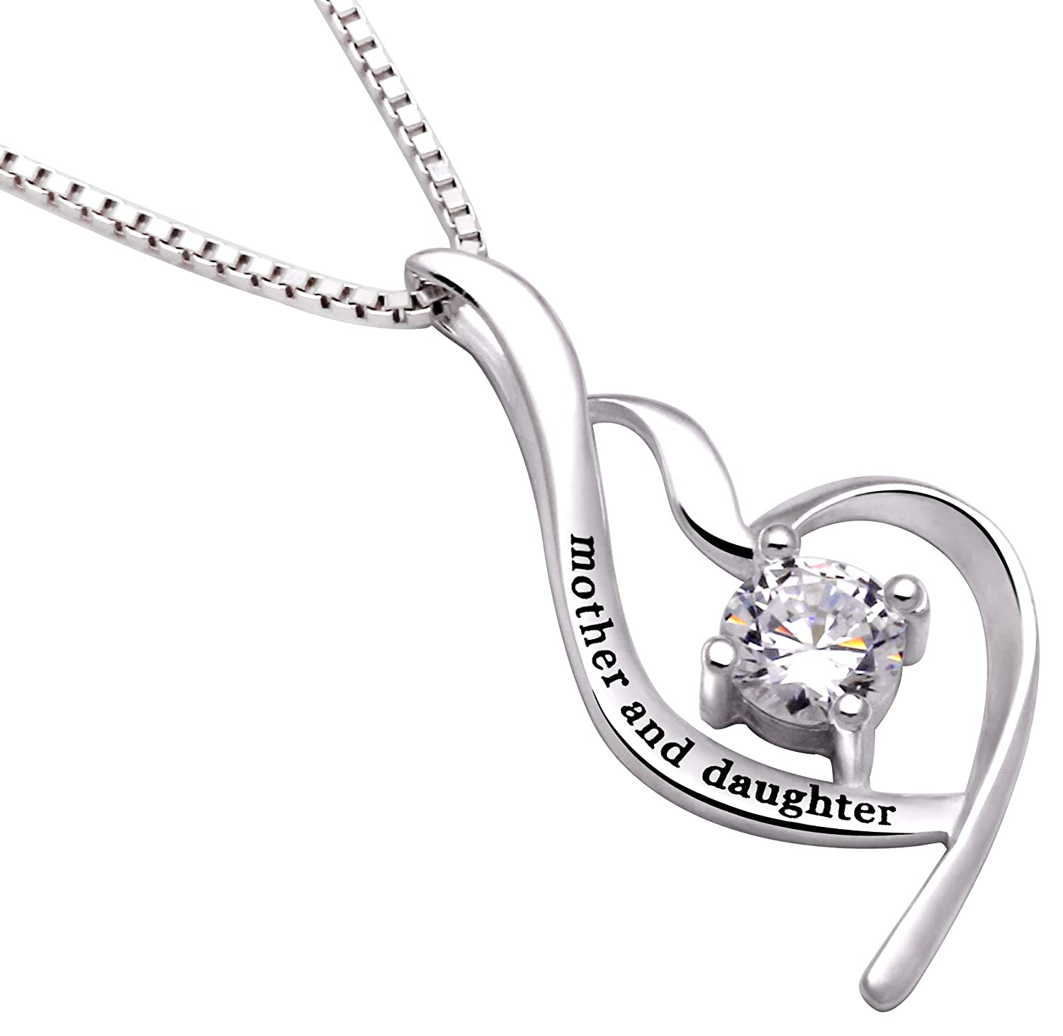 Amazon ALOV Jewelry Sterling Silver Mother and Daughter Cubic