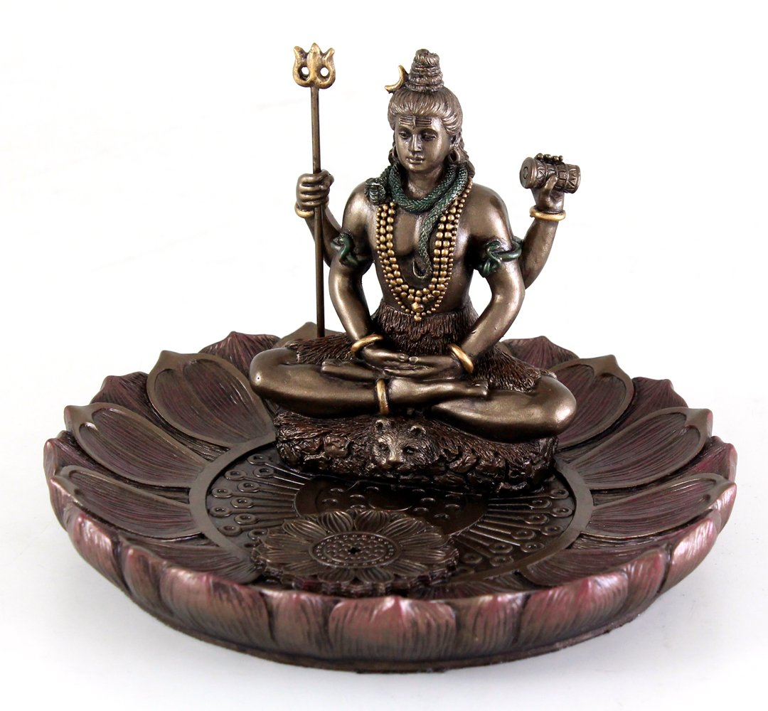 Top Collection Hindu God Shiva in Meditation Round Incense Holder Plate Incense Burner by Top Collection (Image #2)
