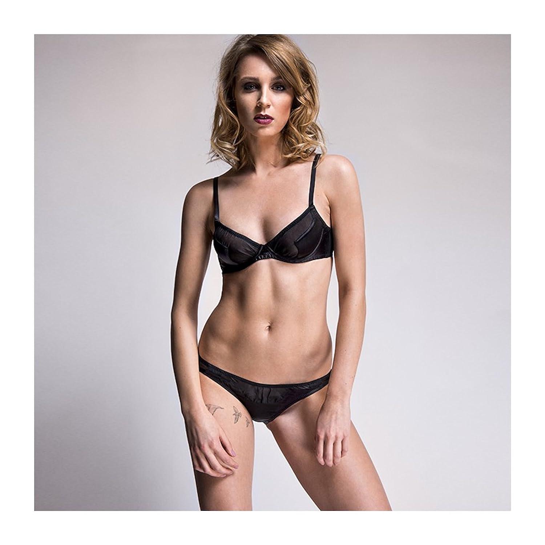 Emma Harris Lingerie Tamara Silk Black Plunge Bra Black 36DD  Amazon.co.uk   Clothing a42eaa56d