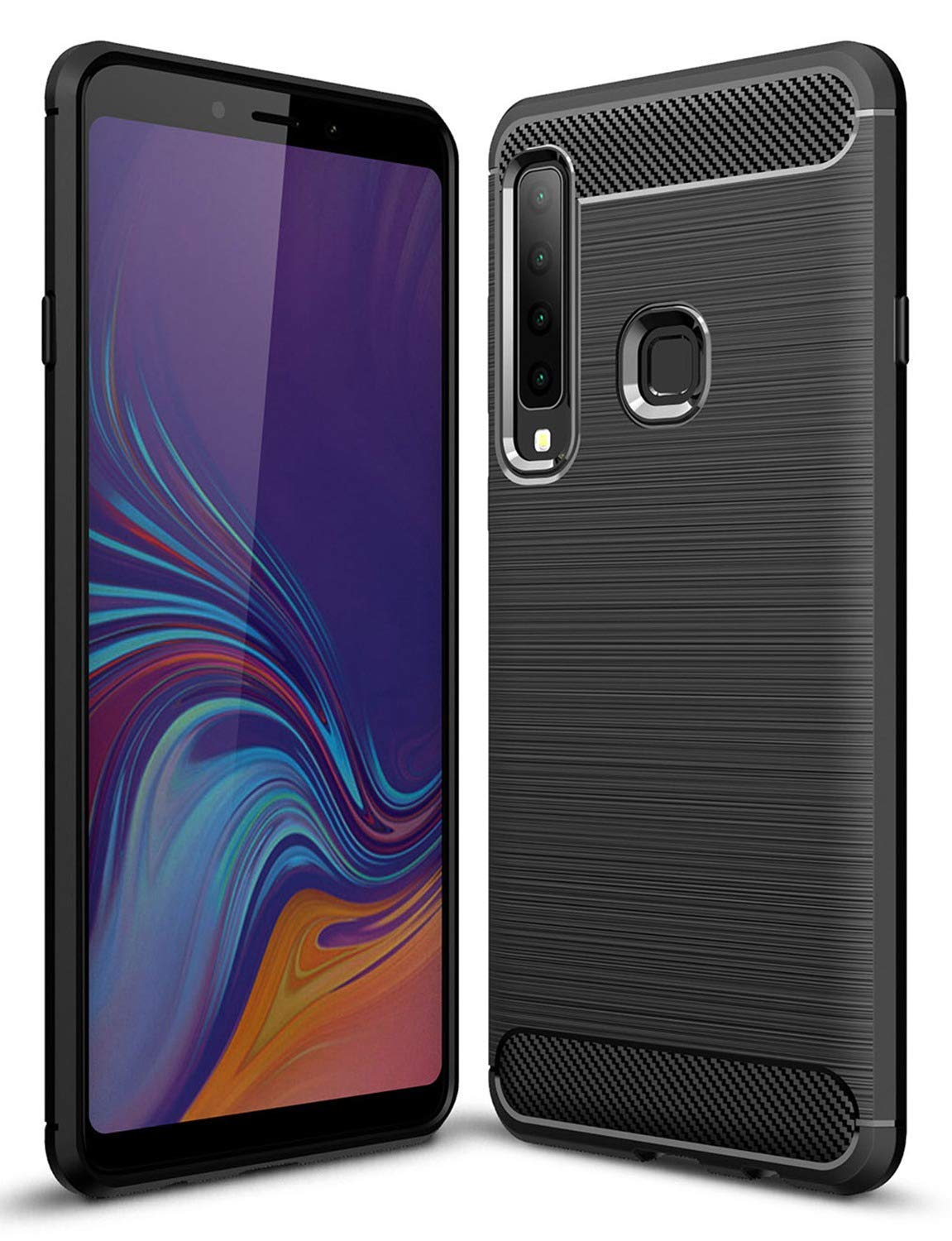 Toppix Case for Samsung Galaxy A9 (2018), Soft TPU Bumper Flexible [Shock Absorption] [Carbon Fiber Texture] Bumper Protective Cover for Galaxy A9 (2018), Black