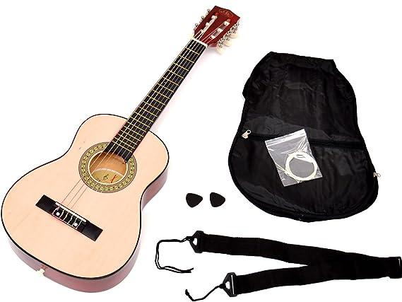 ts-ideen - Guitarra acústica infantil (tamaño 1/4, para 4-7 años, incluye funda, correa y cuerdas), color marrón: Amazon.es: Instrumentos musicales