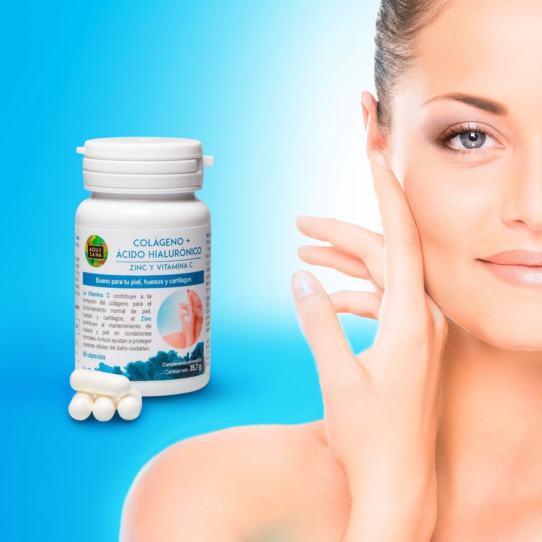 Colágeno +Ácido Hialurónico -Aquisana | Zinc y Vitamina C |Alérgenos: pescado-60 Cápsulas: Amazon.es: Salud y cuidado personal
