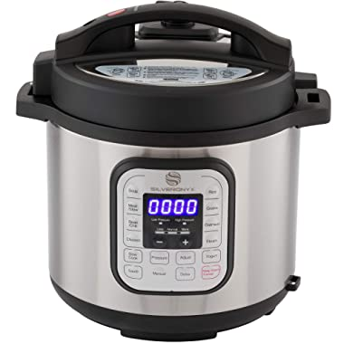 SilverOnyx 10-in-1 Programmable Pressure Cooker 6 Quarts with Stainless Steel Pot, Steamer & Warmer, Recipe Book Included. Instant Pressure Cook, Slow Cook, Sauté, Rice Cooker, Yogurt Maker - 6 Quart