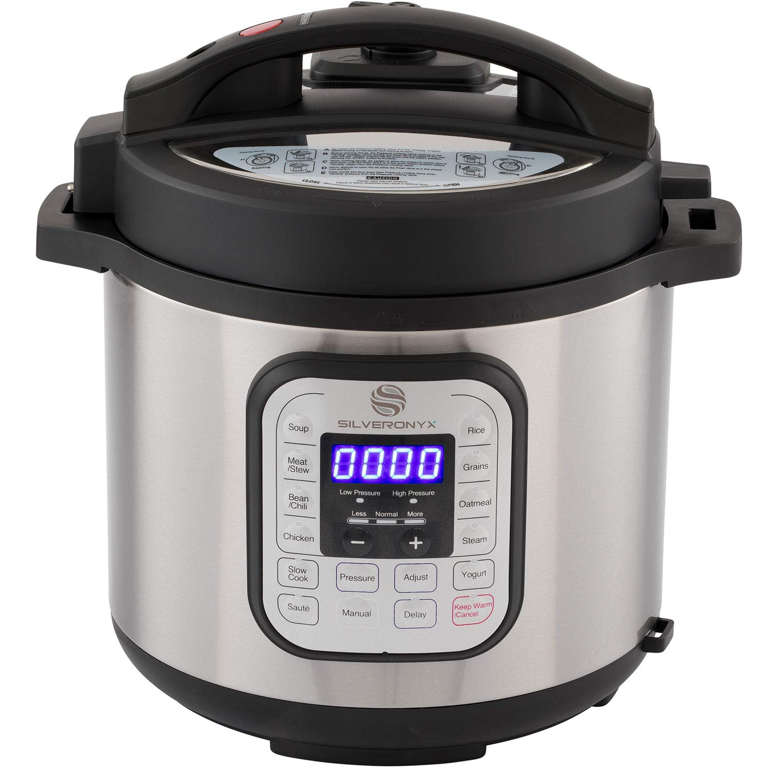 SilverOnyx 10-in-1 Programmable Instant Pressure Cooker 6 Quarts with Stainless Steel Pot, Free Recipe Book Included. 1000 Watt Pressure, Slow Cook, Sauté, Rice Cooker, Yogurt, Steamer & Warmer