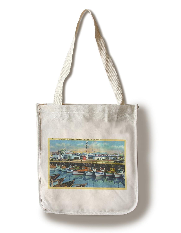 サンフランシスコ、カリフォルニア – DiMaggioのレストランonフィッシャーマンズワーフ Canvas Tote Bag LANT-35563-TT B01841QK1E  Canvas Tote Bag