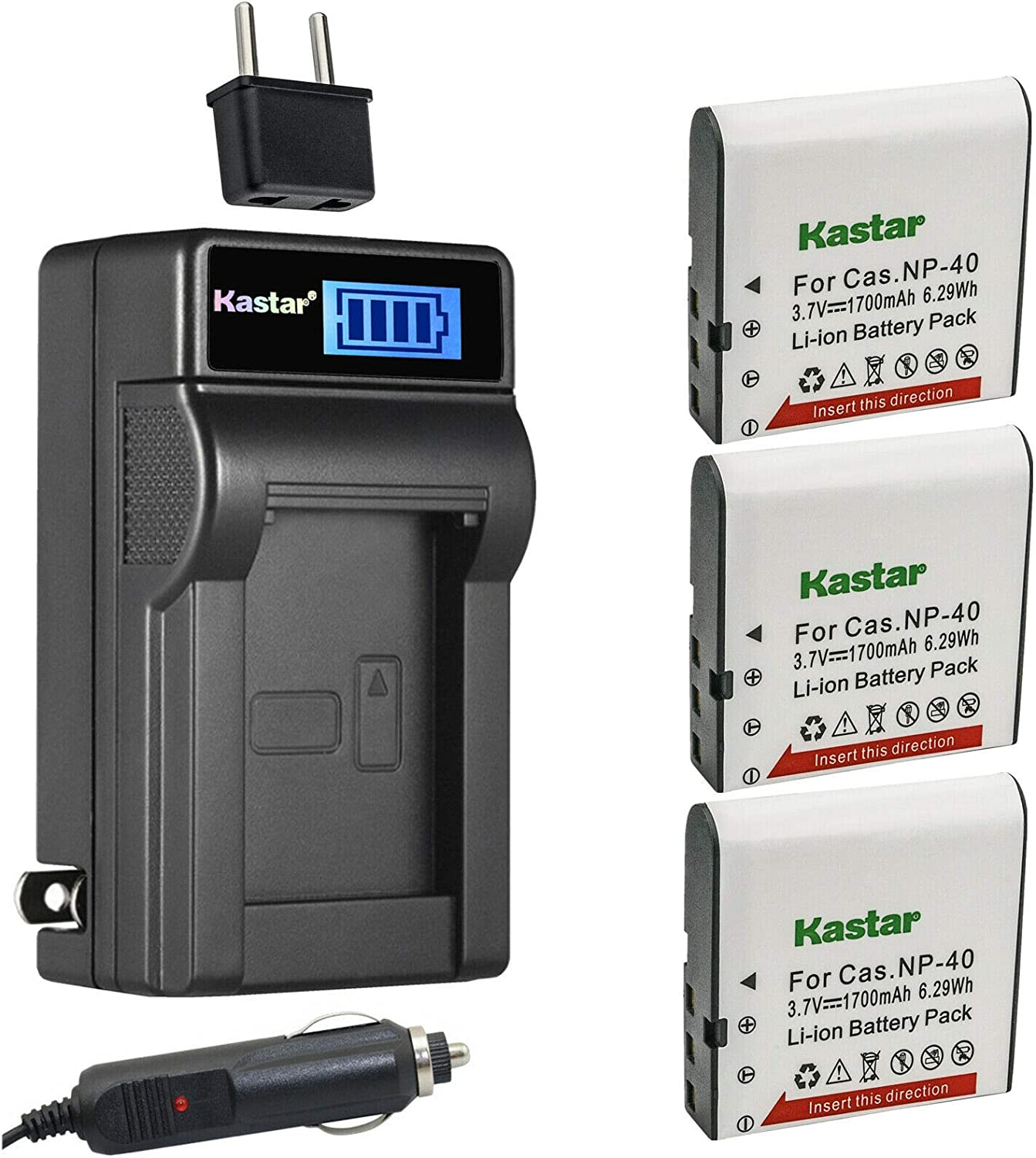 Kastar 3-Pack GB-60 Battery and LCD AC Charger Compatible with GE GB-60 GB60 Battery, GE GE X600 GE General Imaging Power Pro X600 Digital Camera SOSUN Sosun 301S-Plus Camera Camcorder