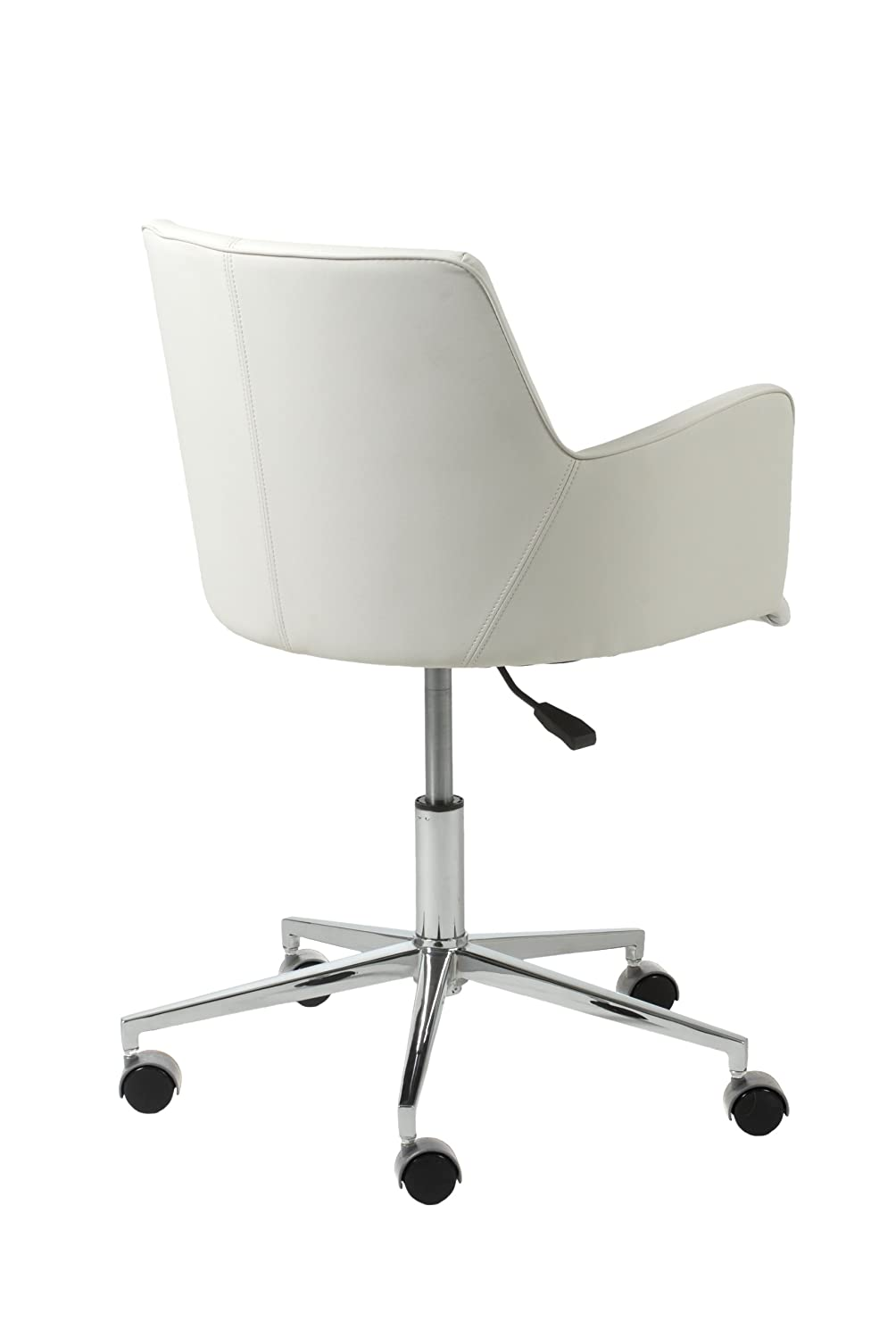 Amazon.com: Euro Style Sunny Adjustable Office Chair, White Leatherette  With Chrome Base: Kitchen U0026 Dining