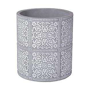 Kitchen Cooking Utensil Holders | Fine Embossed Cement Utensils Crock | Ceramic Utensil Container(Square Pattern)