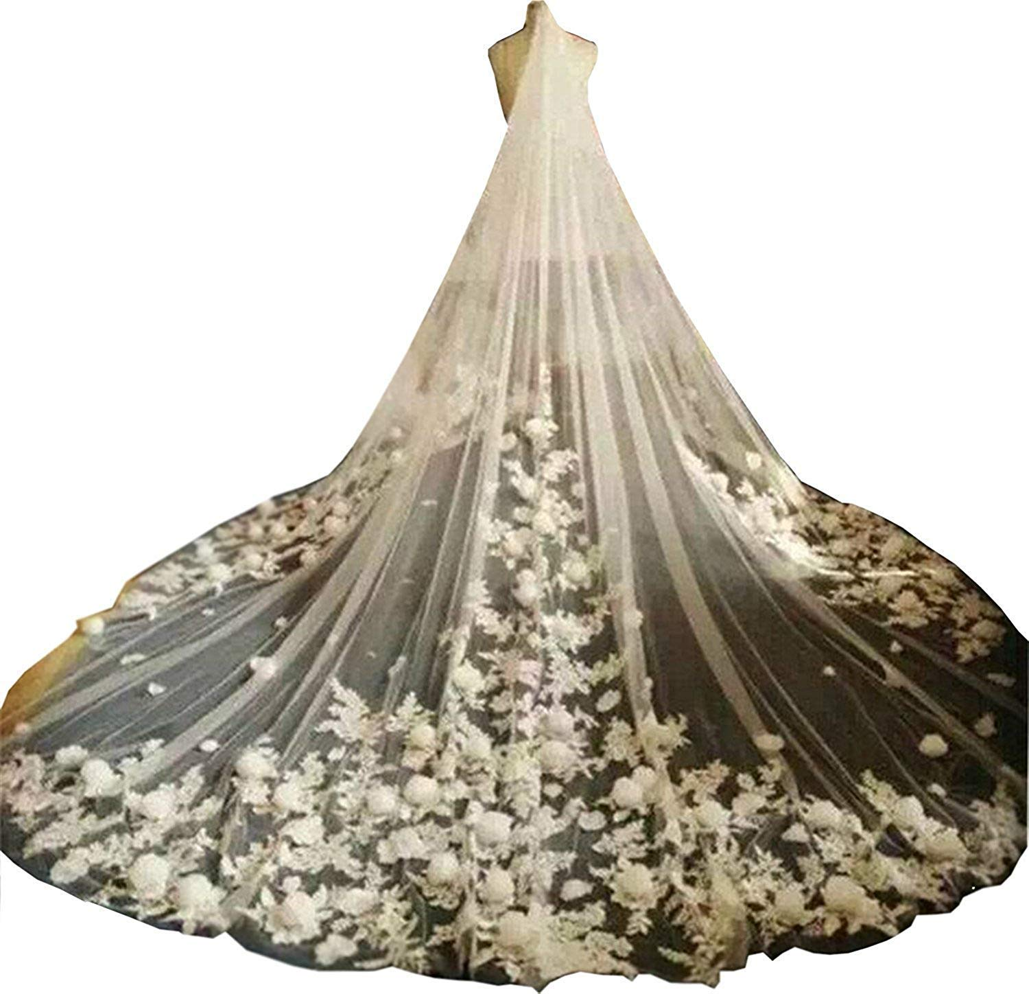 Fenghuavip Ivory Tulle 1T Brides Veils 5M Cathedral Long 3D Flower Veil with Comb (5 meters, White)