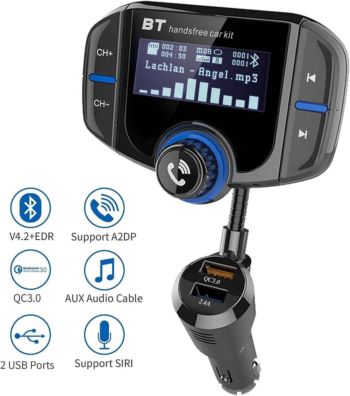 Transmisor FM Bluetooth Manos Libres para Coche, Reproductor MP3 Coche Adaptador Receptor Carga Rapida QC3.0, Dual USB 5V/3A & 2.4A Inalámbrico Kit de Coche Soporte Tarjeta TF 32 G, AUX, Siri, A2D