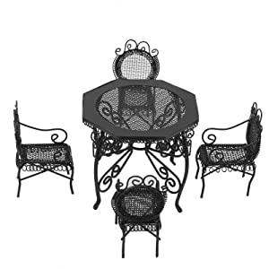 Doll House Garden Furniture, 5pcs Fairy Garden Miniature Mini Dollhouse Table Chair Set Furniture Accessory for 1:12 Dollhouse(Black)