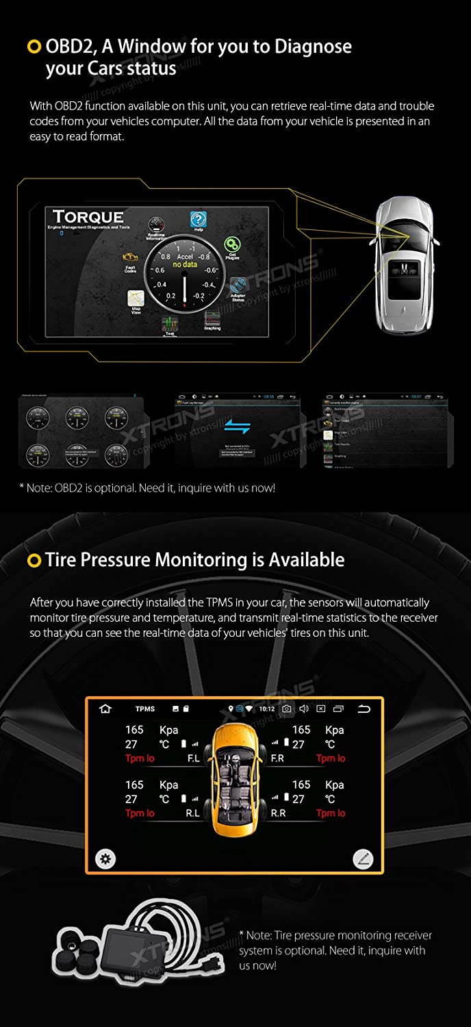 XTRONS 7 Inch Android 8.0 Octa Core 4G RAM 32G ROM HD Digital Multi-Touch Screen Car Stereo GPS Radio OBD2 TPMS Double 2 Din TE706PL