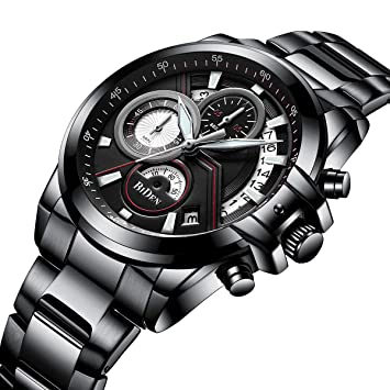 TYWZF Reloj Quartz Mens Sport Men Classic Business Relojes Hombre Multifunción Cronógrafo Reloj De Pulsera,
