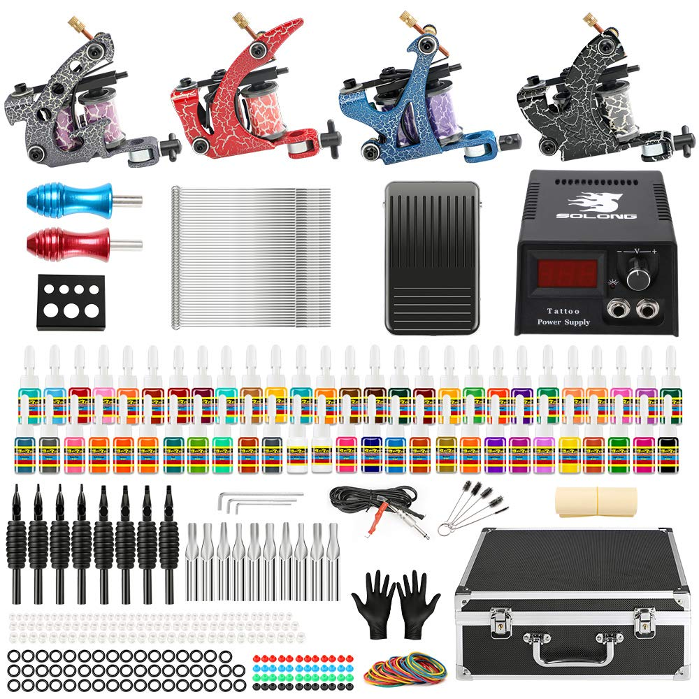Solong Complete Tattoo Kit 4 Pro Machine Guns 54 Inks Power Supply Foot Pedal Needles Grips Tips Carry Case TK456 by Solong Tattoo