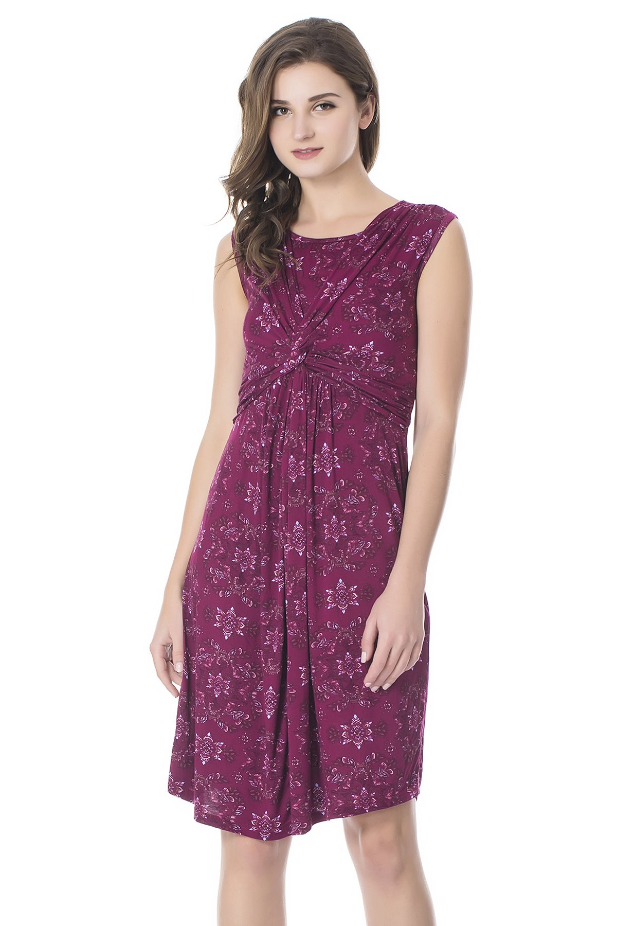 Bearsland Womens Maternity and Nursing Short Sleeves Summer Dress Purple/Red X-Large