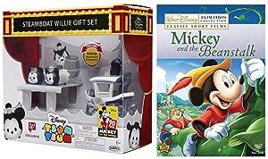 Jack & Mickey Cartoon Beanstalk Movie + Disney Tsum Tsum Minnie Mouse Figure Steamboat Willie Gift Set!