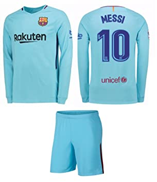 new style ff539 2fcac Barcelona Away Messi Kids #10 Soccer Kit Jersey and Shorts All Youth Sizes