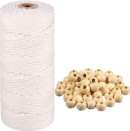 Cordón Cuerda de Macrame de Algodón con 50 Piezas Cuentas de Madera Blanca para Tapiz, Manualidades, Tejido de Punto, Proyecto Decorativo, Colgadores de Plantas (3 mm x 110 Yardas): Amazon.es: Hogar