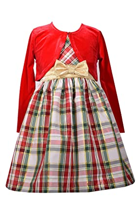dec921a4a Amazon.com  Bonnie Jean Little Girls  Taffeta Plaid Dress with ...